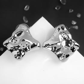 "Metal earrings ""Atmosphere"" square crumpled, color silver"