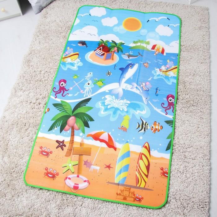 Коврик детский на фольгированной основе, «Морские жители» размер 180х100см