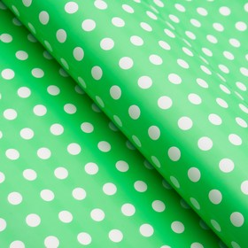 Бумага глянцевая, горох крупный, 49 х 70 см. зелёная