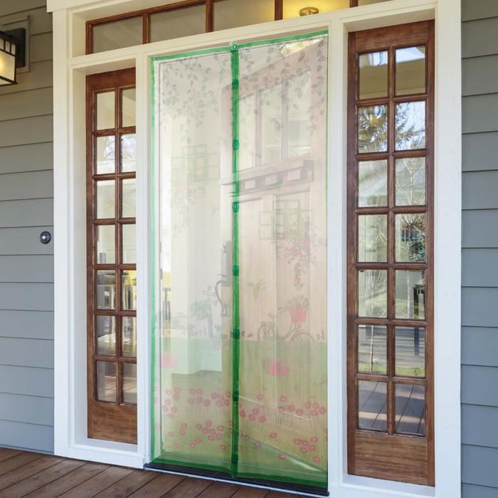 Сетка антимоскитная на магнитах «На полянке», 90×210 см, цвет зелёный