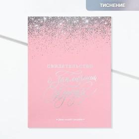 Папка для свидетельства о заключении брака «Розовое с блестками», 23,5 х 31,3 см