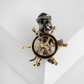 "Brooch ""Captain"" at the helm, colored in gold"