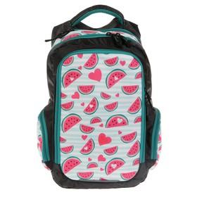Рюкзак школьный, Luris «Тайлер», 40 х 29 х 17 см, эргономичная спинка, «Арбузы», чёрный/белый