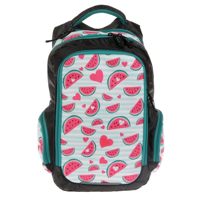 Рюкзак школьный, Luris «Тайлер», 40 х 29 х 17 см, эргономичная спинка, «Арбузы», чёрный/белый - фото 742812