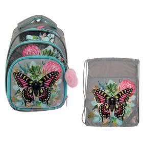 Рюкзак каркасный, Luris «Джой 3», 36 х 27 х 21 см, наполнение: мешок для обуви, «Бабочка»