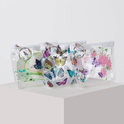 Purse 13-01-07 Butterfly 10*3*8 Department with zipper, with ring, transparent