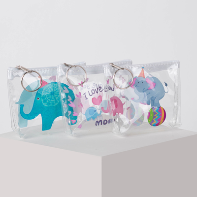 Purse 13-01-07 Elephants, 10*3*8 Department with zipper, with ring, transparent
