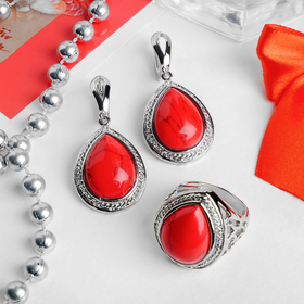 "Headsets Melchior 2 pieces: earrings, ring, drop the ""coral"" metal frame, size 19"