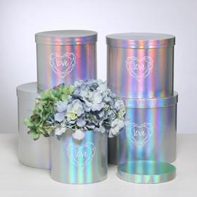 Набор шляпных коробок для цветов 5 в 1 с голографией «Сердце любви», 14 × 13 см - 22 × 19,5 см