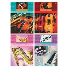"""Тетрадь для нот А4, 12 листов на скрепке """"Чувство музыки"""", вертикальная, обложка мелованный картон, МИКС"""