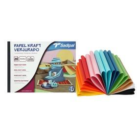 Крафт бумага Sadipal Verjurado, набор 20 штук, микс 20 цветов, 240 x 320 мм