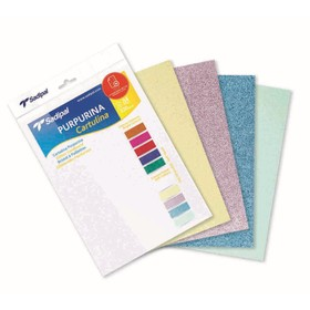 Картон дизайнерский набор, 210 х 297 мм, Sadipal Glitter (с блестками) Pastel, 330 г/м², 5 листов, 5 цветов