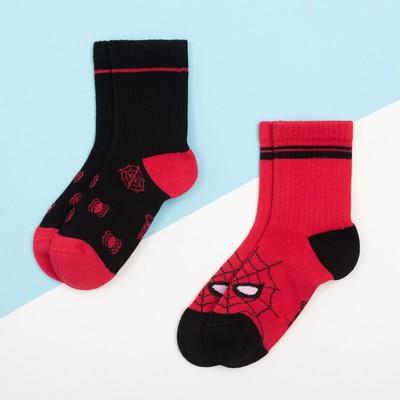 """Набор носков """"Человек-Паук"""" 2 пары, красный/чёрный, 18-20 см"""