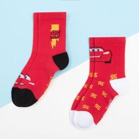 """Набор носков """"Тачки"""" 2 пары, красный, 16-18 см"""