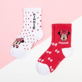 """Набор носков """"Minnie"""", Минни Маус 2 пары, красный/белый, 12-14 см"""