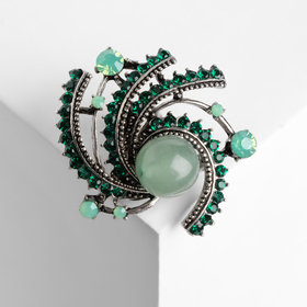 """Brooch """"agate green"""" Bengal gold"""