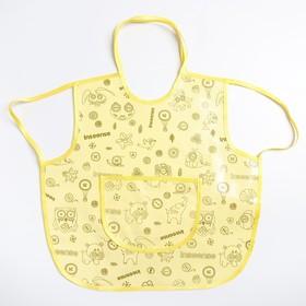 Фартук защитный 36х36 см., из клеенки с ПВХ покрытием, цвет желтый с рисунком