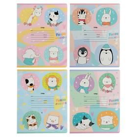 Тетрадь 12 листов в крупную клетку Funny friends, обложка мелованный картон,МИКС
