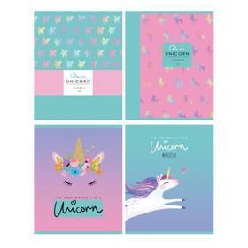 Тетрадь 48 листов в клетку My unicorn, обложка мелованный картон, выборочный лак, МИКС