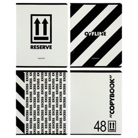 Тетрадь 48 листов в клетку, на скрепке Offline, обложка мелованный картон, выборочный лак, блок офсет, МИКС