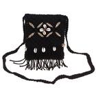 сумочка женская Вязка цветок 15*18см с ремешком черная микс