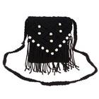 сумочка женская Вязка ромбы 15*18см с ремешком черный