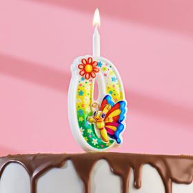 """Свеча для торта цифра """"С Бабочкой"""" """"0"""" разноцветная"""