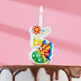 """Свеча для торта цифра """"С Бабочкой"""" """"5"""" разноцветная"""
