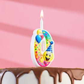 """Свеча для торта цифра """"Смайлик с шарами"""" """"0"""" разноцветная"""