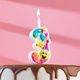 """Свеча для торта цифра """"Смайлик с шарами"""" """"3"""" разноцветная"""