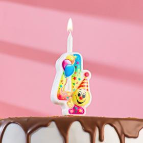"""Свеча для торта цифра """"Смайлик с шарами"""" """"4"""" разноцветная"""