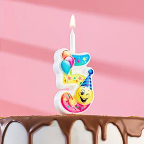 """Свеча для торта цифра """"Смайлик с шарами"""" """"5"""" разноцветная"""