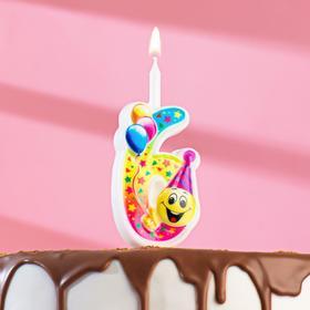 """Свеча для торта цифра """"Смайлик с шарами"""" """"6"""" разноцветная"""