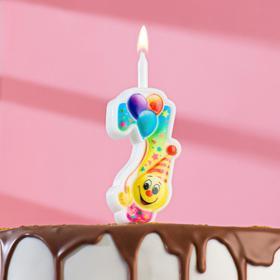 """Свеча для торта цифра """"Смайлик с шарами"""" """"7"""" разноцветная"""