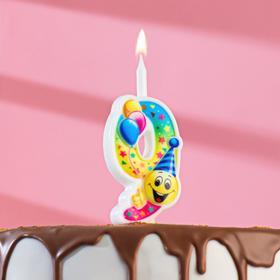 """Свеча для торта цифра """"Смайлик с шарами"""" """"9"""" разноцветная"""