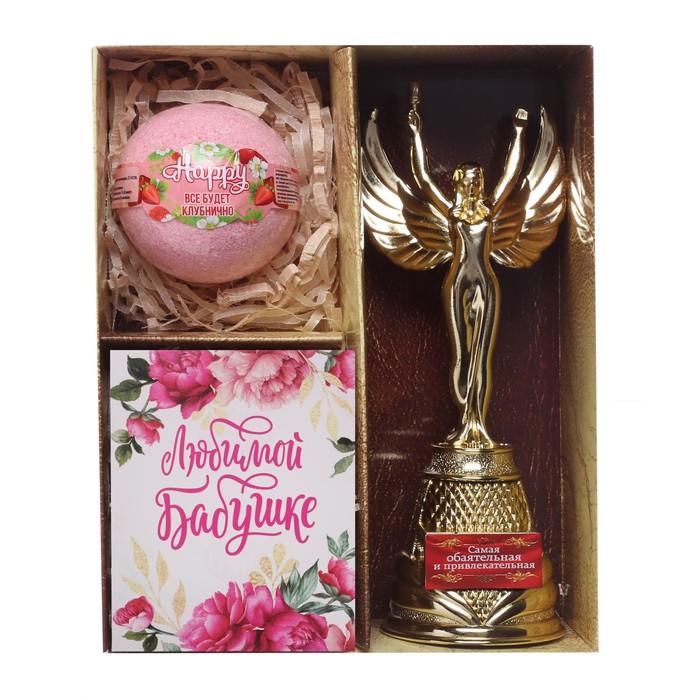 """Подарочный набор """"Лучшей бабушке"""" (награда, соль,  открытка)"""