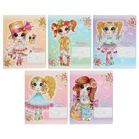 Тетрадь 12 листов в клетку «Девочка Сьюзан», обложка мелованный картон, выборочный УФ-лак, МИКС
