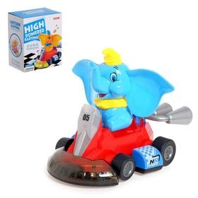 Игрушка музыкальная «Слоник гонщик», световые и звуковые эффекты, работает от батареек