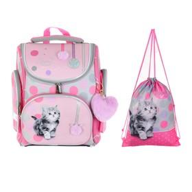 """Ранец Стандарт раскладной Hatber CompactPlus 37 х 30 х 17 + мешок, для девочки """"Милый котенок"""", розовый/серый"""