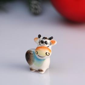 """Souvenir cow """"Rosie"""", 3.2 cm, color Gzhel"""