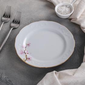 Тарелка мелкая «Цветок миндаля», d=17,5 см, отводка золотом, ф. Надежда