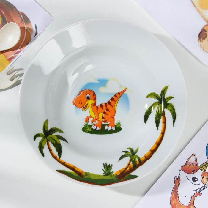 Тарелка глубокая «Динозаврики», d=20 см, 250 мл - фото 490561