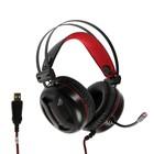 Наушники Redragon Minos, игровые, полноразмерные, микрофон, USB, 2 м, чёрно-красные