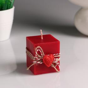 """Свеча- куб """"Любовь в кубе"""" красная, с декором, 5×6 см"""