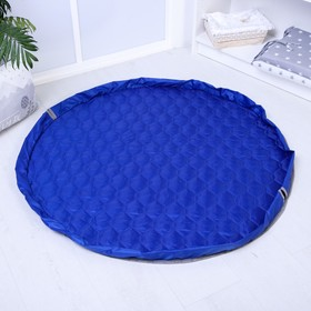 Развивающий коврик - сумка для игрушек, утепленный, сине-серый, d100см
