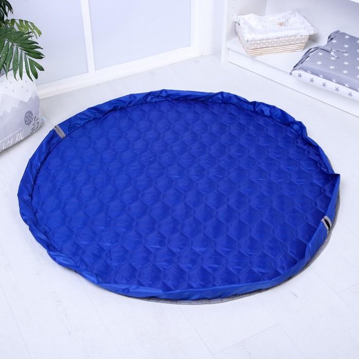 Развивающий коврик - сумка для игрушек, утепленный, сине-серый, d100см - фото 76132751
