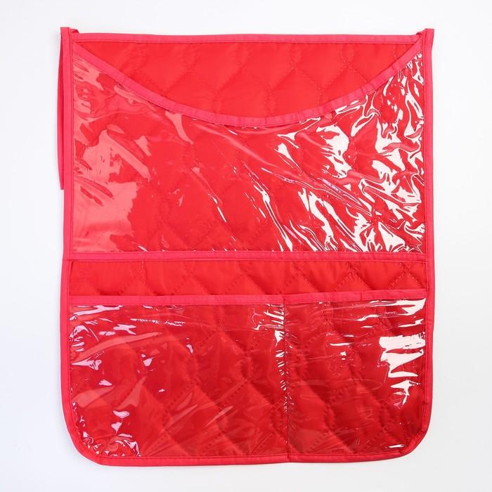 Органайзер на кроватку,размер 47*55,оксфорд,чтежка,цв.красный - фото 105549683