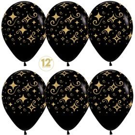 """Шар латексный 12"""" «Сверкающие бриллианты», пастель, 5-сторонний, набор 50 шт., цвет чёрный"""