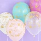 """Шар латексный 12"""" «С днём рождения! золотые цветы», пастель, 5-сторонний, набор 50 шт., МИКС - фото 953557"""