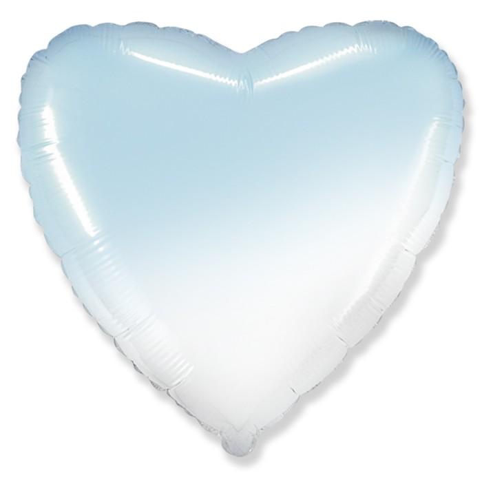 """Шар фольгированный 32"""" «Градиент», сердце, цвет голубой - фото 7639771"""